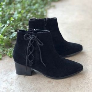 Topshop Black Suede Lace Up Ankle Booties Boots